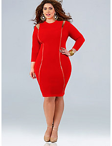 Whitley Cut Out Shoulder Dress - Red by Monif C.