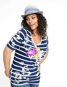 Floral supima modal scoop tee