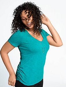 Ruched side V tee