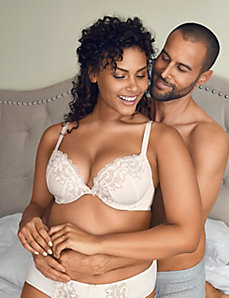 Eyelet lace cotton plunge bra