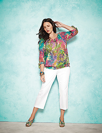 Palm print peasant top by Lane Bryant