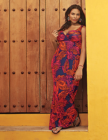 Plus size Crochet back print maxi dress by Lane Bryant