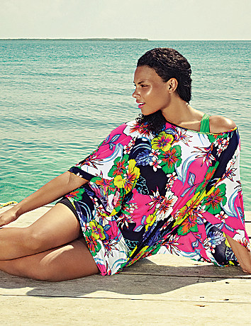 Tropical floral kimono swim cover up