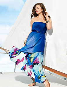 Hibiscus draped maxi dress