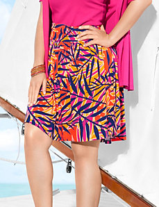 Palm print flippy skirt