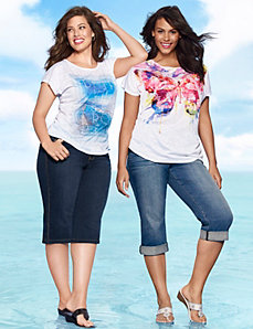 Graphic Tees & Denim Capris ensemble