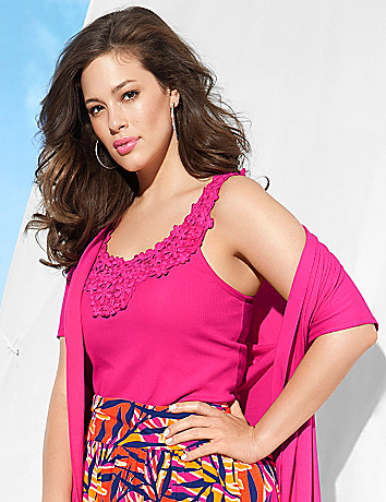Battenberg lace trim tank by Lane Bryant
