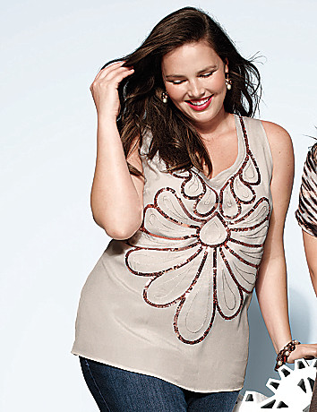 Full Figure Deco Sequin Tank by Lane Bryant