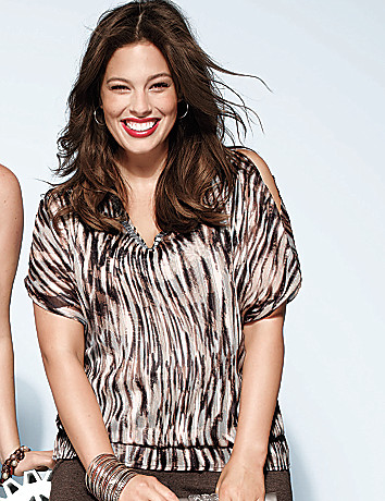 Wavy zebra cold shoulder blouse