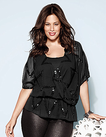 Plus Size Sequin Blouse by Lane Bryant
