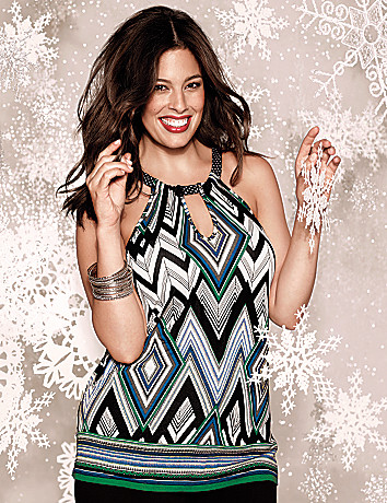 Plus Size Mixed Print Halter Top