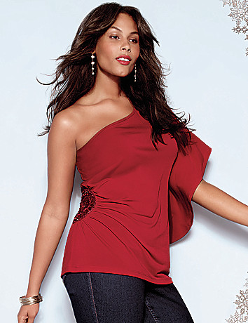 Plus Size Beaded One Shoulder Top by Lane Bryant