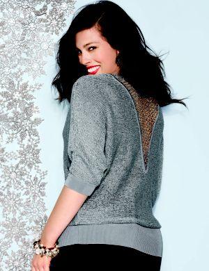 Lattice back sequin sweater