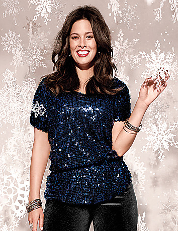 Plus Size Sequin Peplum Blouse by Lane Bryant