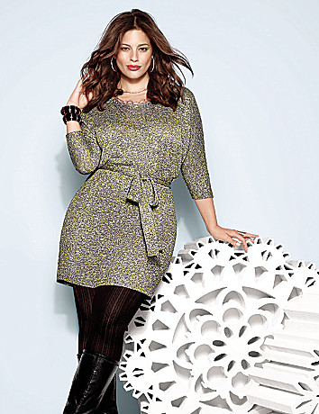 Plus Size Metallic Sweater Dress by Lane Bryant