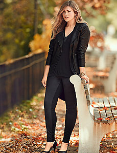 Control Tech slimming ponte & faux suede legging