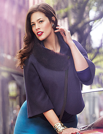 Full Figure Cape With Fur Collar by Lane Bryant