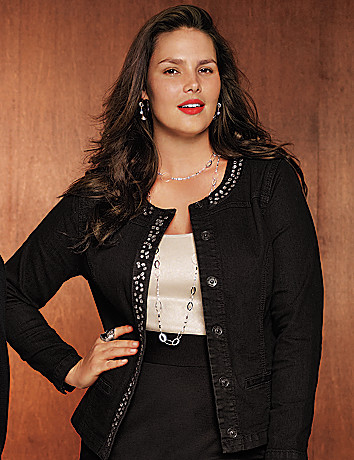 Embellished black denim jacket by Lane Bryant