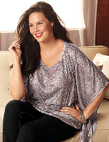 Plus Size Sequin Poncho by Lane Bryant
