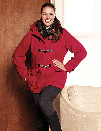 Plus Size Hooded Toggle Coat by Lane Bryant
