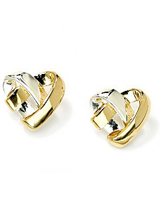 Tutone Heart Pierced Earrings by PalmBeach Jewelry