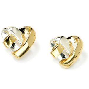 Tutone Heart Pierced Earrings