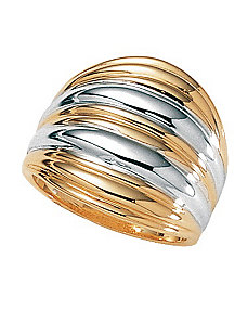 18k/SS Ribbed Dome Ring by PalmBeach Jewelry