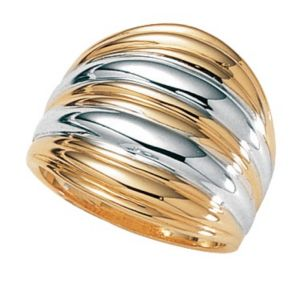 18k/SS Ribbed Dome Ring
