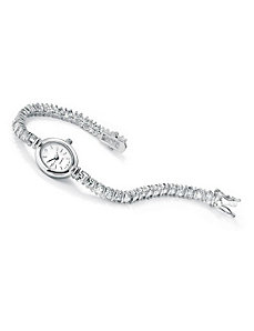 Cubic Zirconia Sterling Silver Watch by PalmBeach Jewelry