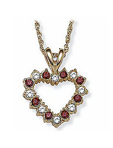 Simulated Ruby Heart Pendant by PalmBeach Jewelry