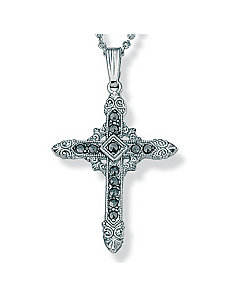 Marcasite Silvertone Cross by PalmBeach Jewelry