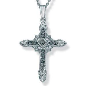 Marcasite Silvertone Cross