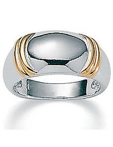 Tutone Sterling Silver Dome Ring by PalmBeach Jewelry