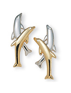 Dolphin Tutone Earrings by PalmBeach Jewelry