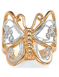 Butterfly 14k Gold-Plated Ring by PalmBeach Jewelry