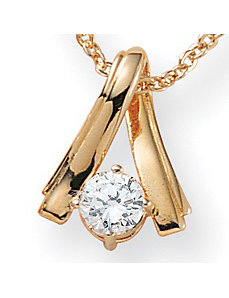 Cubic Zirconia Twist 14k gold-plated Pendant by PalmBeach Jewelry