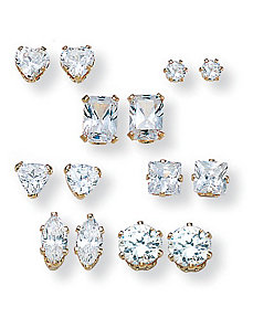 7-Paircubic zirconia Earring Set by PalmBeach Jewelry