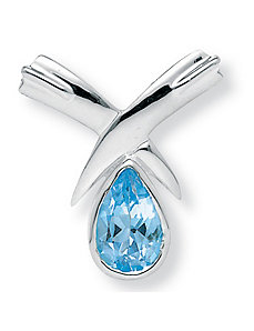 Blue Topaz Sterling Silver Slide by PalmBeach Jewelry