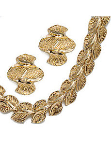 2-Piece Leaf Motif Set by PalmBeach Jewelry