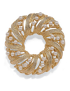 Simulated Pearl Circle Pin by PalmBeach Jewelry