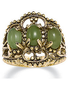 14k gold-plated Antiqued Jade Ring by PalmBeach Jewelry