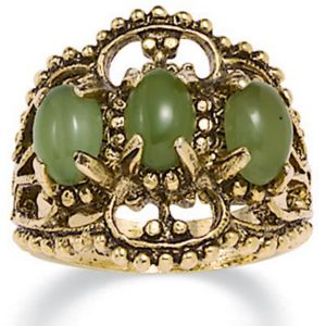 14k gold-plated Antiqued Jade Ring