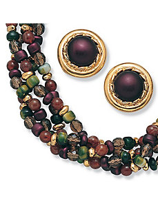 Beaded Lucite Necklace/Earring Set by PalmBeach Jewelry