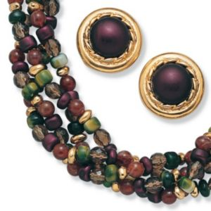 Beaded Lucite Necklace/Earring Set
