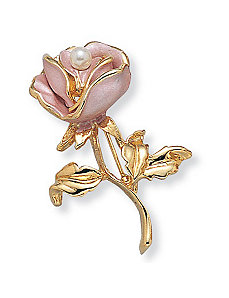 Simulated Pearl Pink Enamel Pin by PalmBeach Jewelry