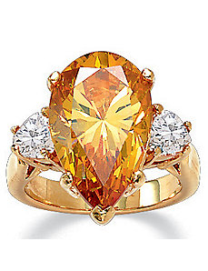 Pear-Shaped Champagnecubic zirconia Ring by PalmBeach Jewelry