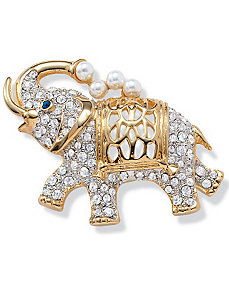 Crystal Elephant Pin by