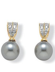 Sim. Pearl Earrings by PalmBeach Jewelry