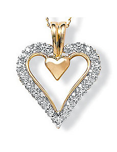 10k Gold Diamond Acc. Heart Pendant by PalmBeach Jewelry