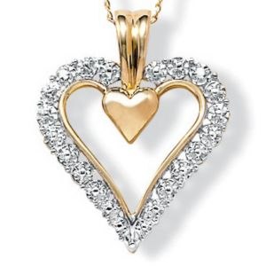10k Gold Diamond Acc. Heart Pendant